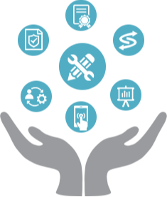 Icon image of a pair of hands offering up varied icon images representing resources