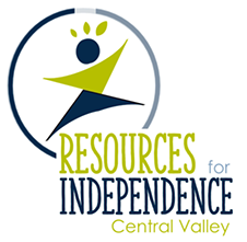 RICV logo in blue and green featuring an elated person and the words Resources for Independence Central Valley.